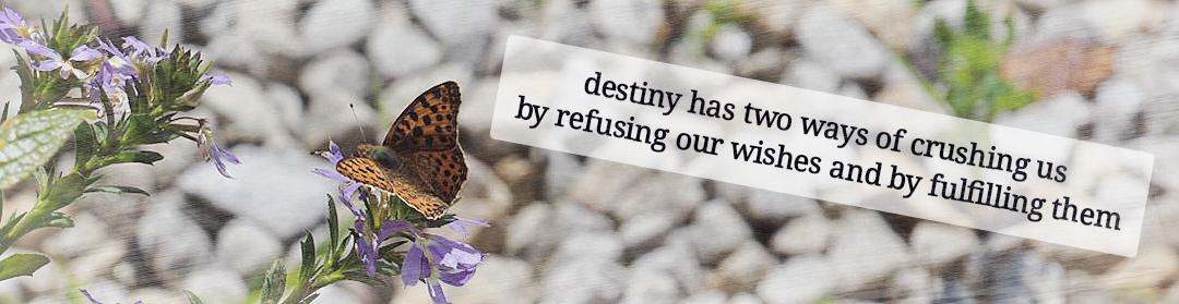 …destiny has two ways of crushing us…